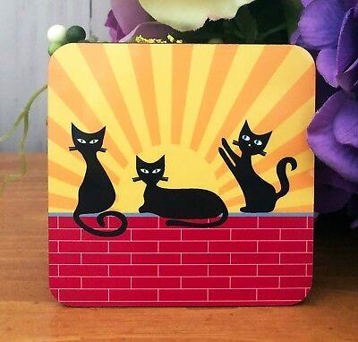 Black Cat Coasters - Set of 4 - Sunrise, Daytime, Sunset and Night Time  - Cork Coasters Bulk