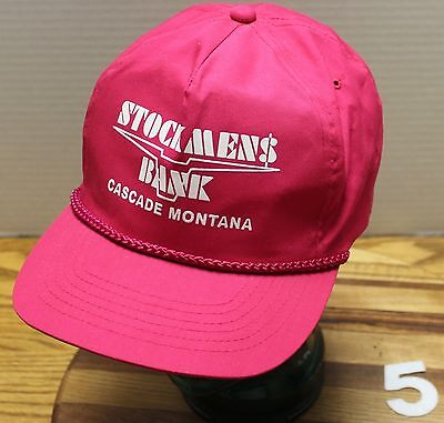 Hot Pink Womens Stockmens Bank Cascade Montana Adjustable Hat Very Good Cond
