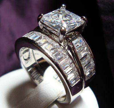 Chic Celebrity 2pcs Princess cut 4.0+ ctw CZ engagement wedding rings set Size 9 ()