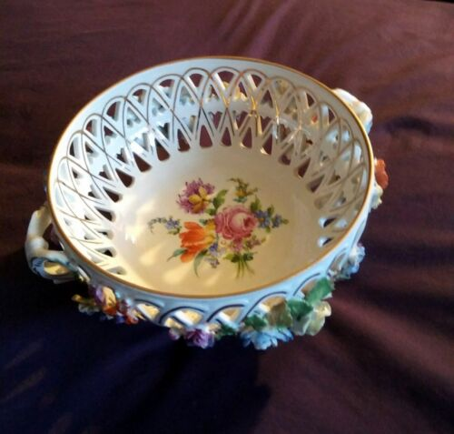 Dresden Carl Thieme Reticulated Porcelain Footed Bowl Raised Flowers Circa 1900