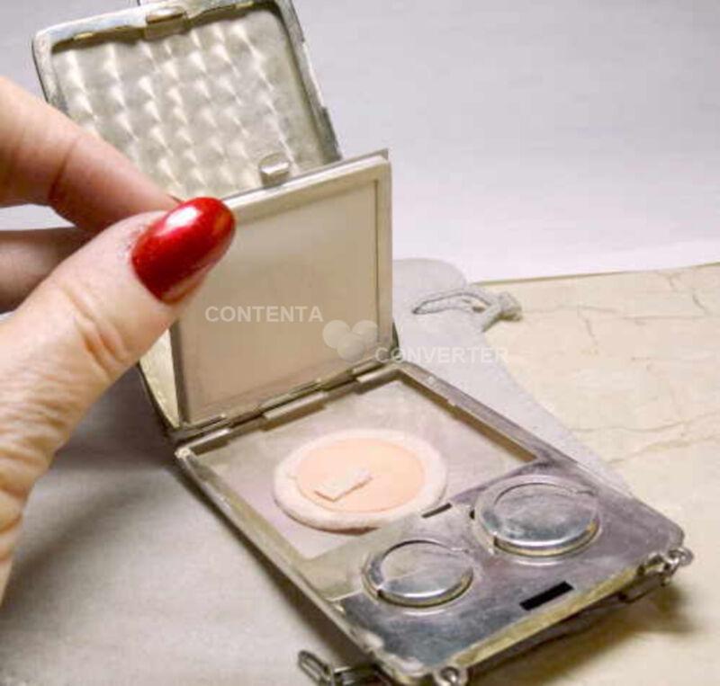 "Antique 1920 Sterling Silver Powder Coin Mirror Purse & 5"" Chain"