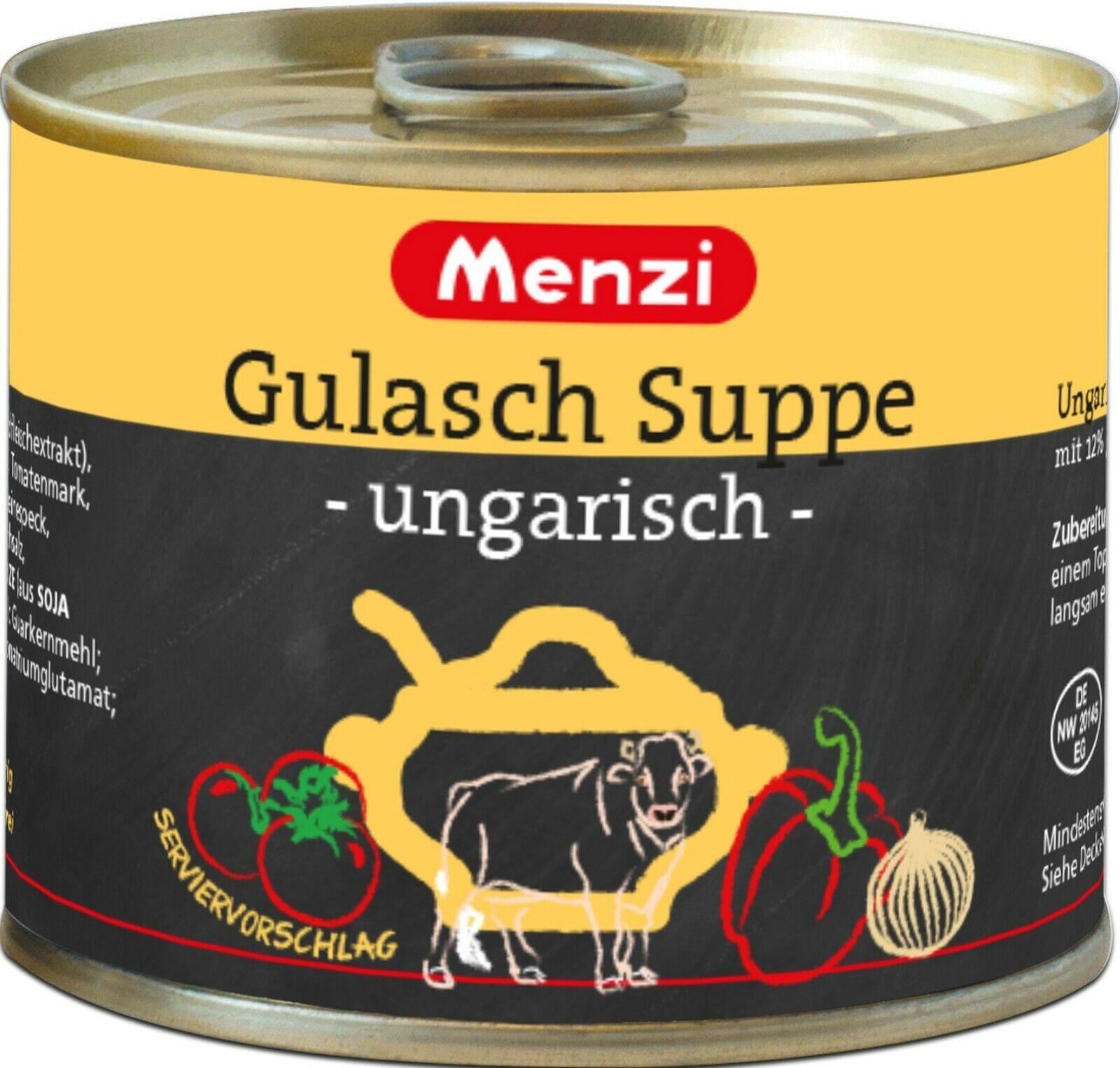 (1L=9,99€) Menzi Gulaschsuppe Ungarisch - mit Rindfleisch - 5 Dosen je 200 ml