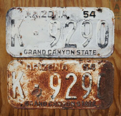 1954 ARIZONA License Plate PAIR / SET