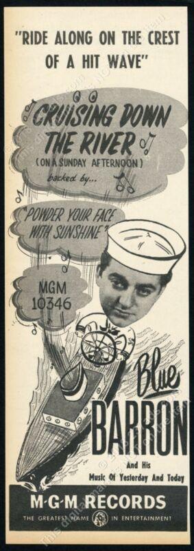 1949 Blue Barron photo Cruising Down the River record release scarce trade ad