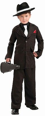 Boys Gangster Costume 20s Mob Boss Pinstrip Suit Halloween Pin Strip Kids Child - 20s Costume