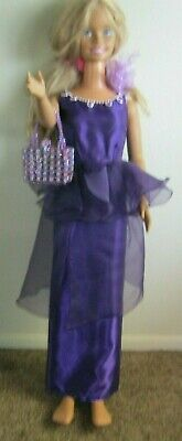 "MY SIZE Barbie PURPLE PLEASER Dress with purse for 36"" my size doll free ship!"