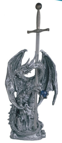 18 INCH SILVER DRAGON WITH SWORD ATTACKING CASTLE FIGURINE