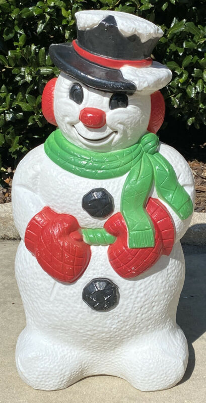 """Vintage Grand Venture Snowman Red Nose Mittens Green Scarf Lighted Blow Mold 30"""""""