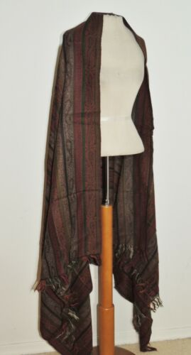 Large Wool Paisley Striped Shawl w Self Fringe