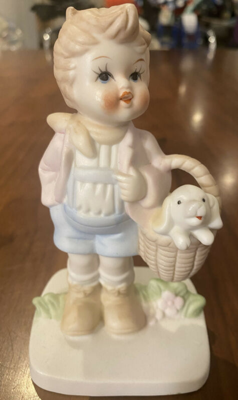 VINTAGE LITTLE BOY PUPPY IN BASKET PORCELAIN FIGURINE
