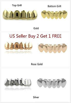 Hip Hop Teeth Grillz Vampire Halloween Top Bottom Plain 14K Gold Silver Rose