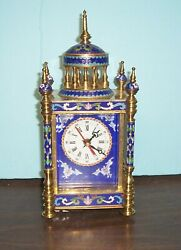 VINTAGE FRENCH STYLE CLOISONNE MANTLE CLOCK ENAMEL AND BRASS 12HS 4.5' X 5.5