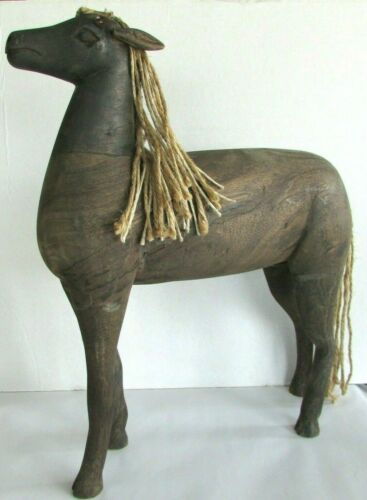Antique Folk Art Hand Carved Wooden Horse - Primitive Hand Crafted Horse