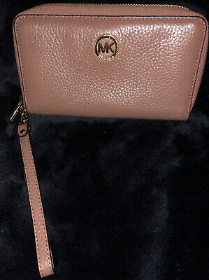Michael Kors Rose Cell Phone Pocket Zip Around Wallet/wristle*Good Condition*