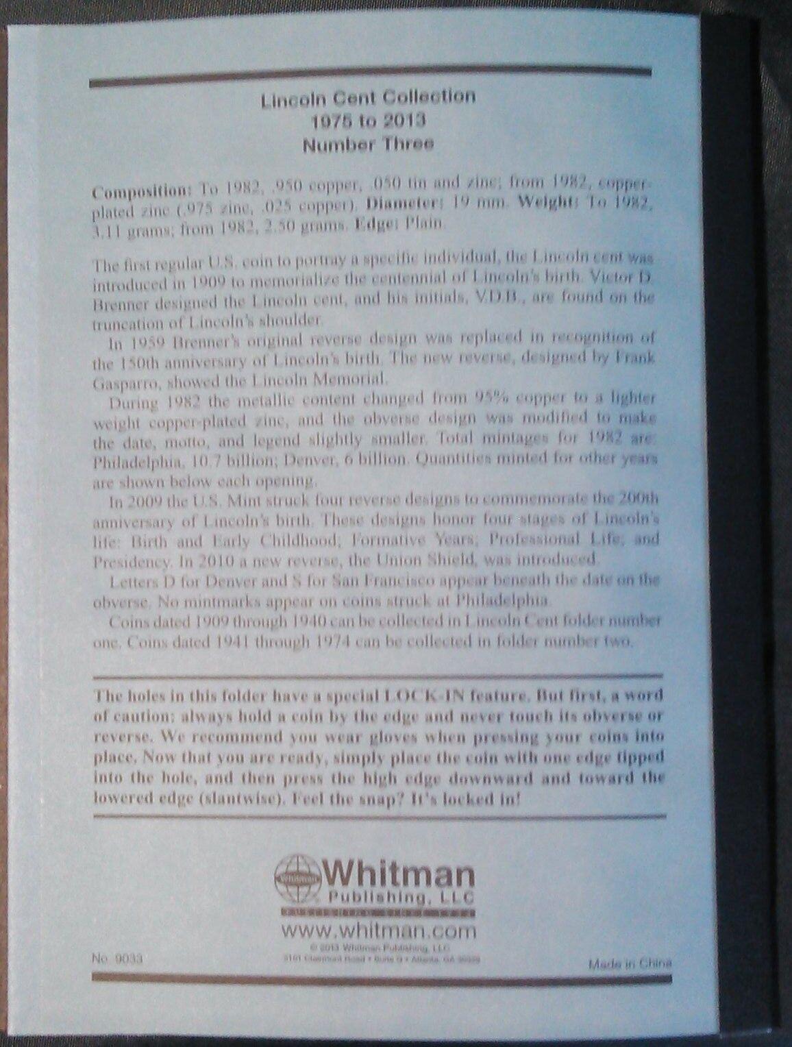 Whitman Lincoln Cents Vol. #3 1975-2013 Coin Folder, Penny Album Book # 9033
