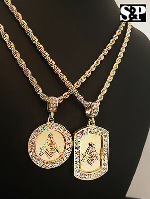 "Hip Hop Gold Plated Masonic Mason Dog Tag & Round Pendant w/ 24"" Rope Chains Set"