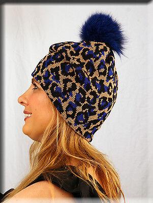 - New Blue Leopard Print Beanie Blue Fox Fur Pom Pom - One Size Fits All