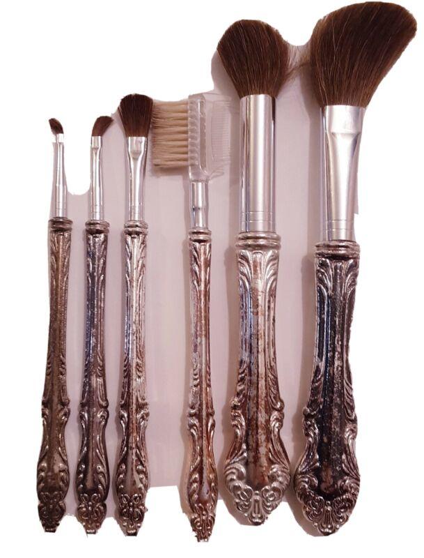 Vintage Silver tone Cosmetic Brush 6 piece Set cheek eye lashes eyeshadow