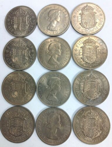 Vintage Great Britain Half Crown Coin Lot 12 Pieces FREE SHIPPING
