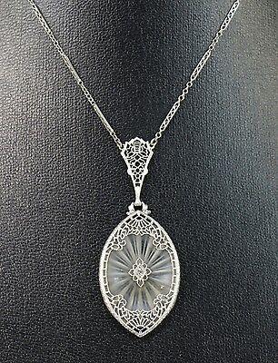 Art Deco Collier Anhänger 585 Weißgold geschliffener Bergkristall mit Diamant