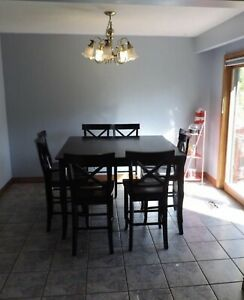 8 Seater Black Wood Dining Set with matching lazy susan