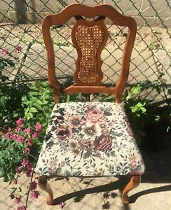 Vintage floral and rattan chair