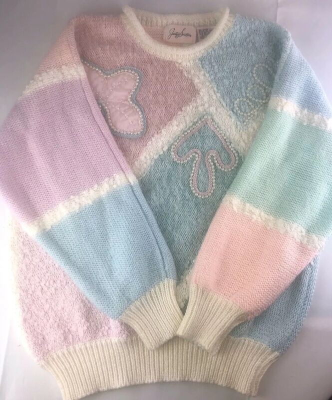 Jaclyn Smith Vintage Knit Sweater Pastel Beaded Blue Pink Ivory Sz M