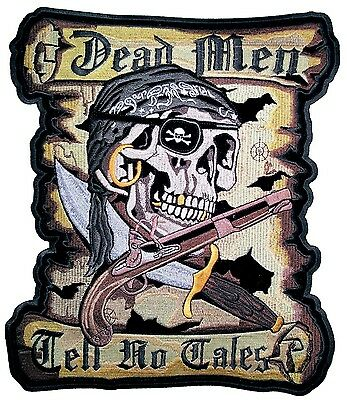 Large Dead Men Tell No Tales Pirate Skull Sword Gun Embroidered Biker Patch