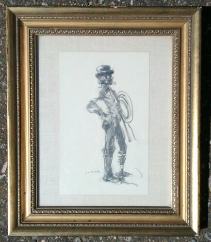 Matted & Framed Charcoal Sketch of Man with Whip (bullfighter?) SIGNED Jacos(?)