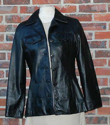 Leather Jacket Wilsons Maxima Women's Size Medium Black 5 Button