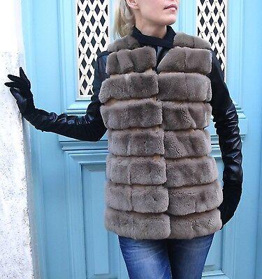 OFFER Chinchilla Rex Fur Cappuccino Italian Elegant MANZONI24 Jacket Vest