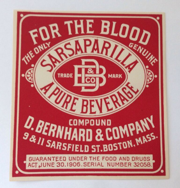 Lot of 3 Antique QUACK MEDICINE Bottle Labels SARSAPARILLA For the Blood BOSTON