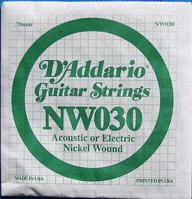 D'Addario Nickel Wound .030 Electric or Acous. Singles ()