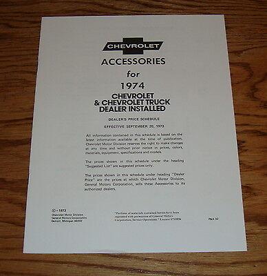 Chevrolet Truck Accessories Brochure - 1974 Chevrolet Car & Truck Dealer Installed Accessories Brochure 74 Chevy