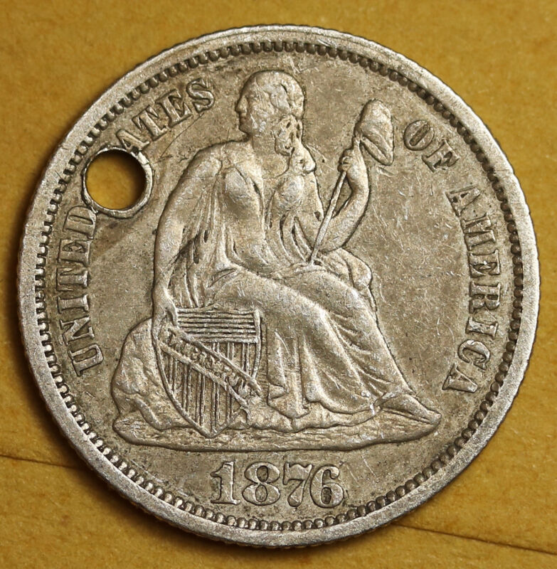 "1876 Liberty Seated Dime.  Love Token.  ""L.L.S.""  94415"