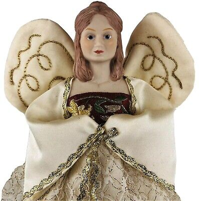 VTG Hallmark 1984 Angel Christmas Tree Topper Hand Painted Porcelain w/ Box