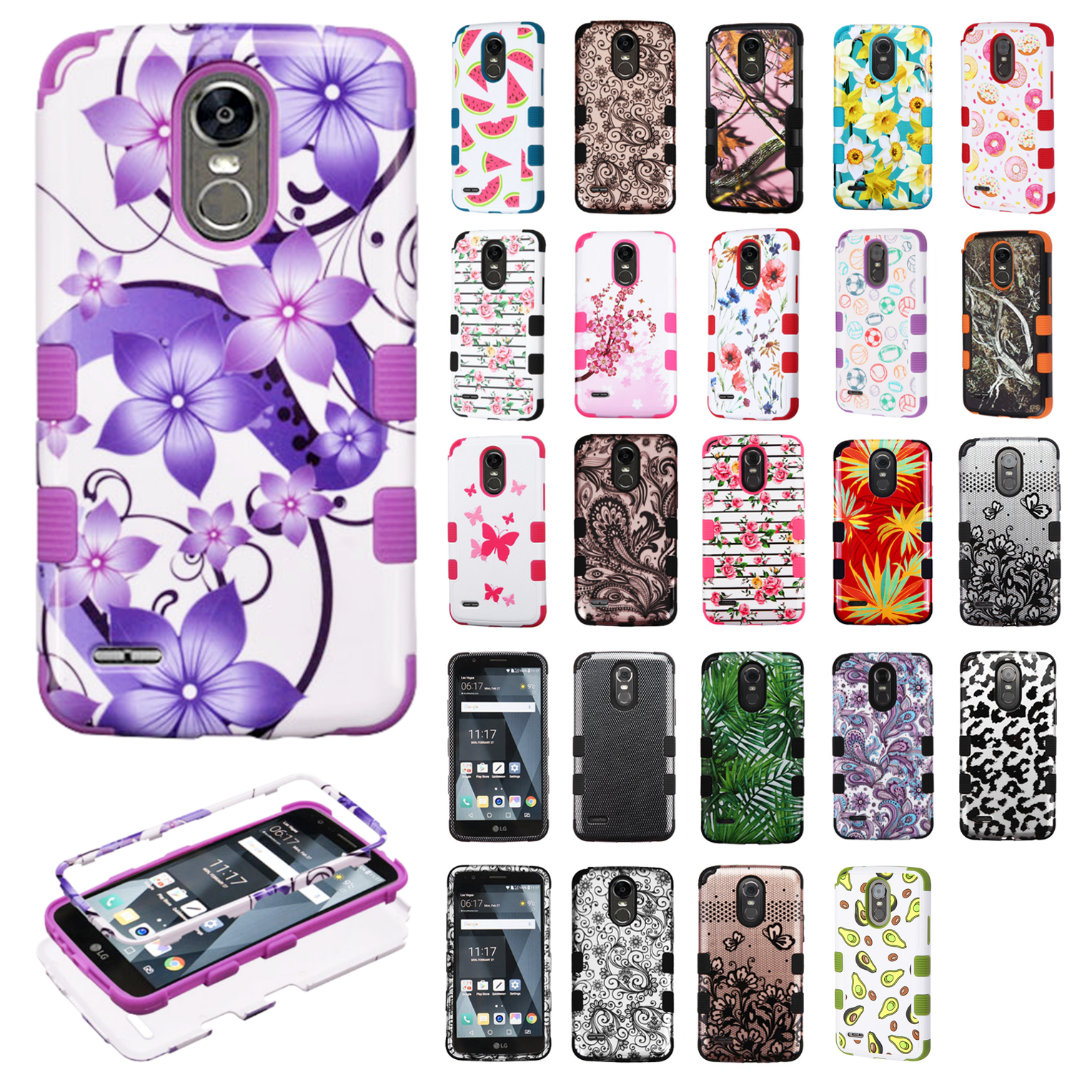 For LG Stylo 3 IMPACT TUFF HYBRID Protector Hard Case Skin Phone Cover Accessory