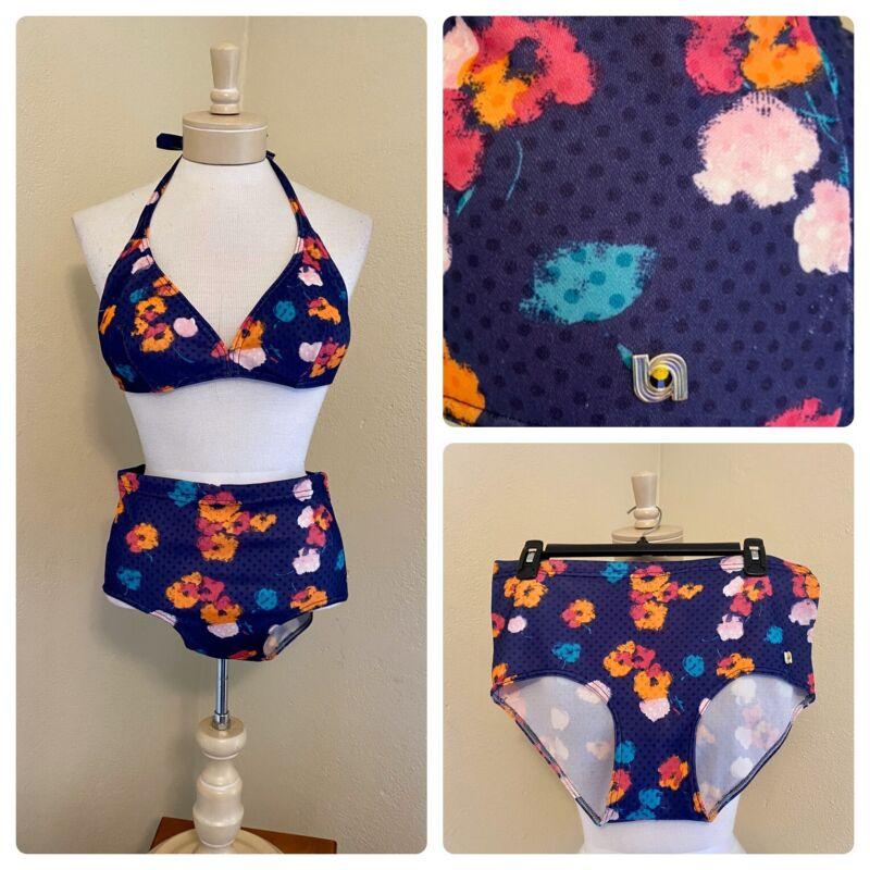 VTG Mod 60s 70s SPORETT Floral Polka Dot Bikini High Waist Swimsuit Two Piece M