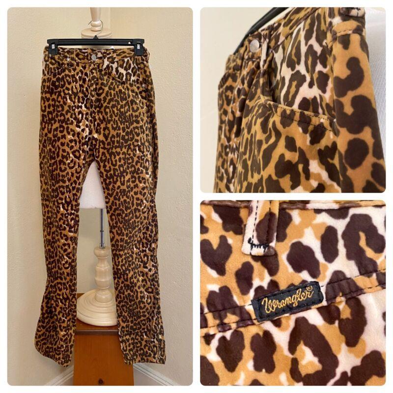 Super Rare Vtg WRANGLER High Waist Leopard Print Velvet Velour Pants! 26 x 34 XS