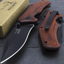 "7"" ELK RIDGE WOOD SPRING ASSISTED FOLDING TACTICAL POCKET KNIFE Open Assist EDC"