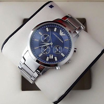 NEU Emporio Armani AR2448 Herren Uhr Edelstahl Chronograph Farbe: Silber Blau OV