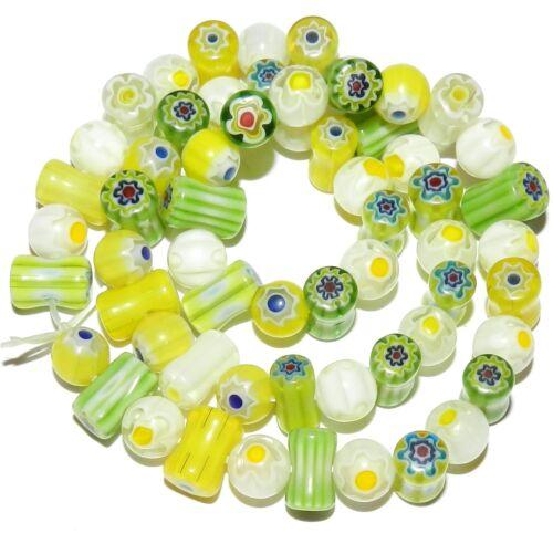 G3480 Green Yellow White Single Flower 8mm Round & Tube Millefiori Glass Beads