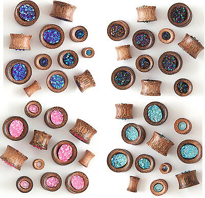 PAIR Synthetic Rough Druzy Stone Coconut Wood Tunnels Plugs Gauges Body Jewelry (Gem Body Jewellery)