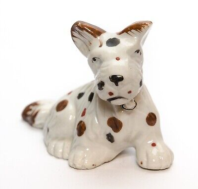 Schnauzer Dog Figurine Ceramic Porcelain R Japan Vintage