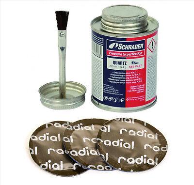 Schrader Vulcanizing Cement Tyre Glue & 25 Round Tyre Repair Patches 55mm Dia