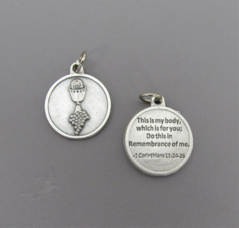 First 1st Communion Chalice Charm Holy Medal ROUND & Prayer M213 Rosary Pendant