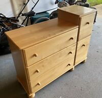Solid wood diaper change table with drawers