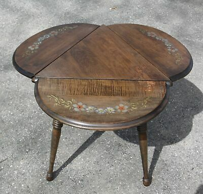 Vintage Hitchcock style Tripod Handkerchief Drop Leaf Side End Corner Table ()