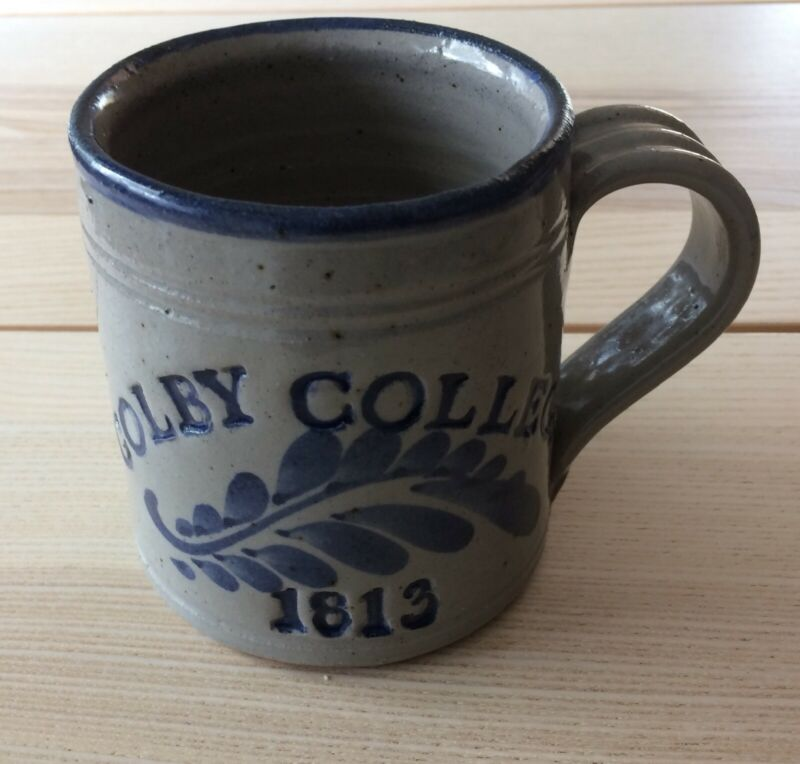 signed Westerwald studio pottery mug cup inscribed Colby College (Maine) 1813
