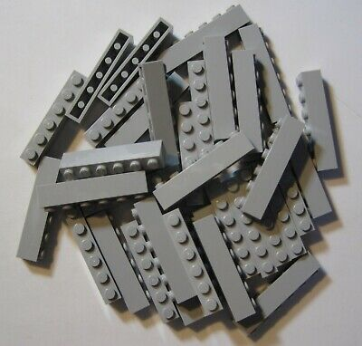 LEGO LOT OF 25 NEW 1 X 6 DOT LIGHT BLUISH GREY BRICKS *FREE SHIPPING*